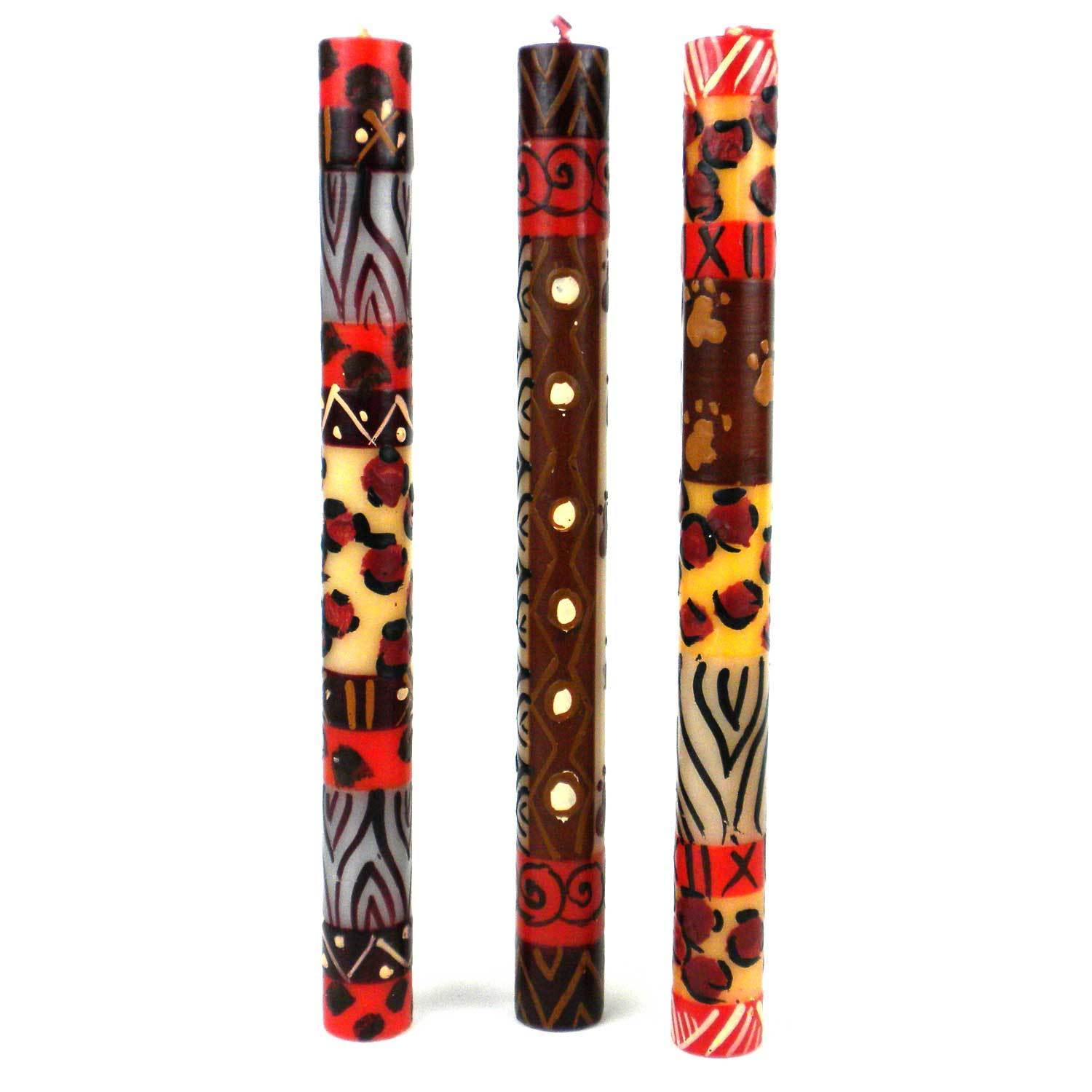 Global Crafts Set of Three Boxed Hand-painted Taper Candles with Uzimai Design