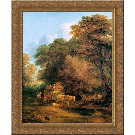 The market cart 24x20 Gold Ornate Wood Framed Canvas Art by Thomas Gainsborough - Gainsborough Halloween Market