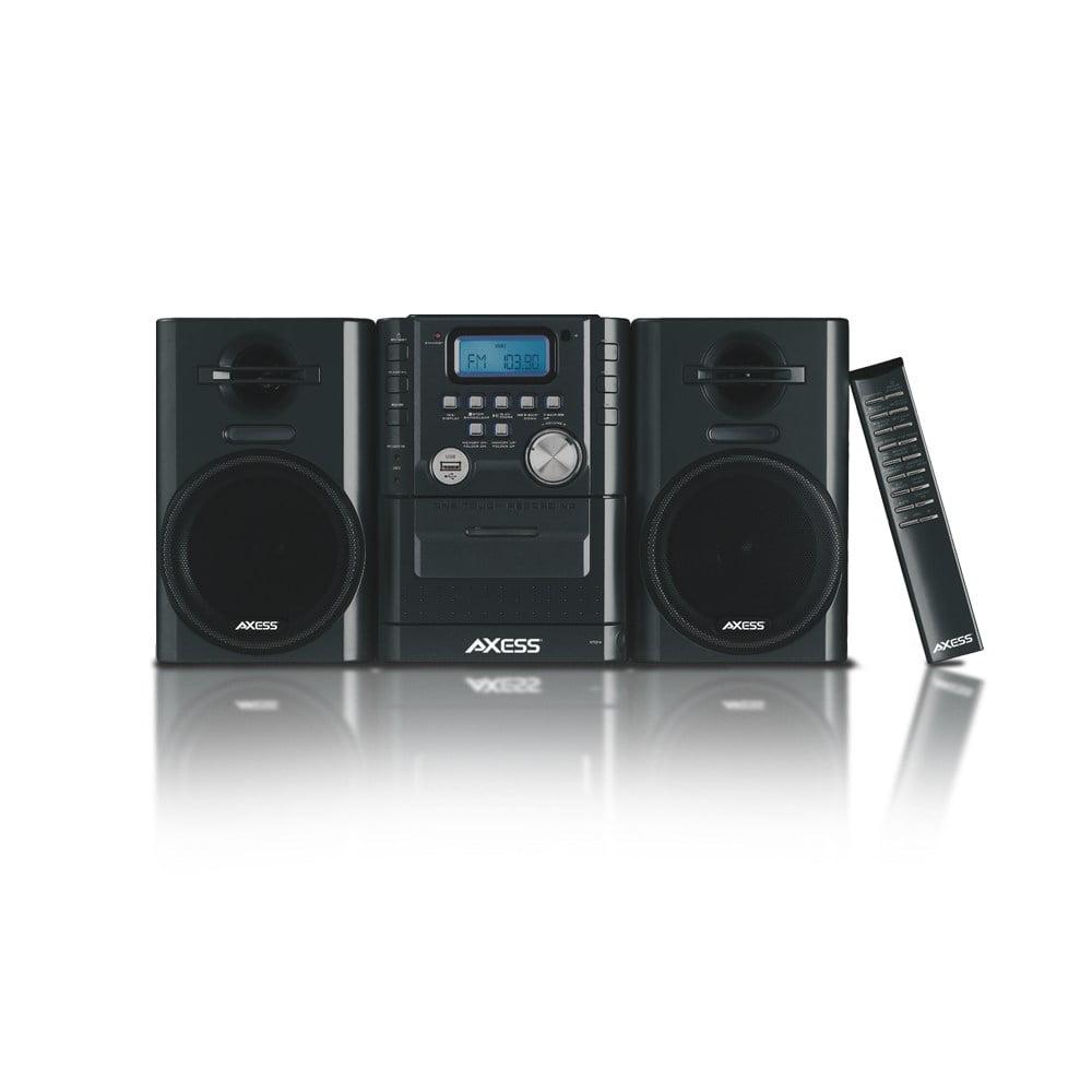 Axess Mini Entertainment System AM FM USB CD MP3 Player Cassette Recorder Headphone & Aux Jack by Axess