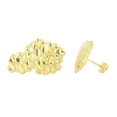 Gold Nugget Earrings 14K Finish Sterling Silver Brand New Mens Womens 26 MM -