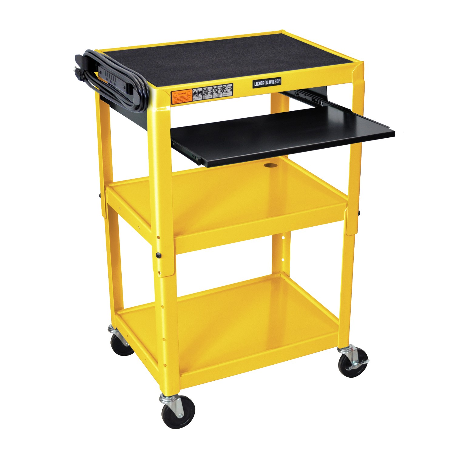 Offex OF-AVJ42KB-YW - Adjustable Height Steel A/V Cart - Pullout Tray