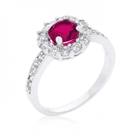 Bella Wedding Ring (R08347R-C17-05 Bella Birthstone Engagement Ring In Pink (Size: 05))