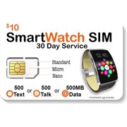 $10 Smart Watch SIM Card For 2G 3G 4G LTE GSM Smartwatches and Wearables - 30 Day Service - USA Canada & Mexico Roaming
