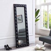 "Crystal Tufted Floor Mirror Black 63"" x 22"" by Naomi Home"