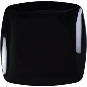 Fineline Settings 1510-BK-X, 10-Inch Renaissance Black Plastic Dinner Plates, Disposable Catering Square Salad Serving Plates, 10-Piece Pack - Black Plastic Dinner Plates
