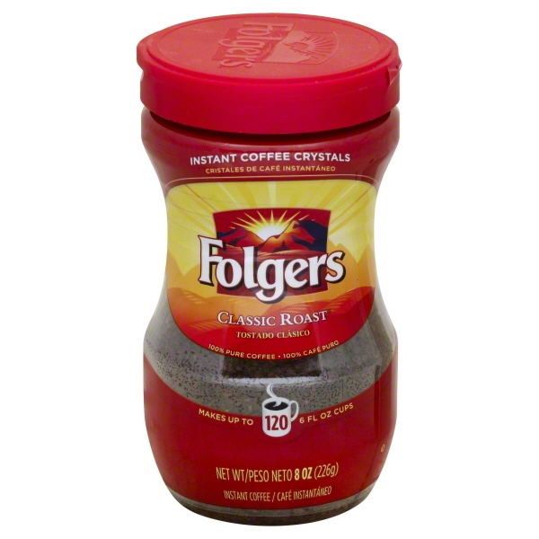 Folgers Classic Roast Instant Coffee Crystals, 8 oz