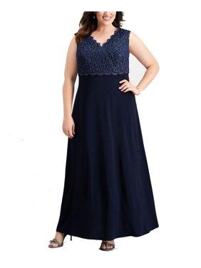 Womens Dress Plus Lace Bodice Long Gown 20W