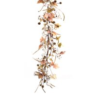 Melrose Cotton and Leaf 5 ft. Unlit Garland - Set of 2