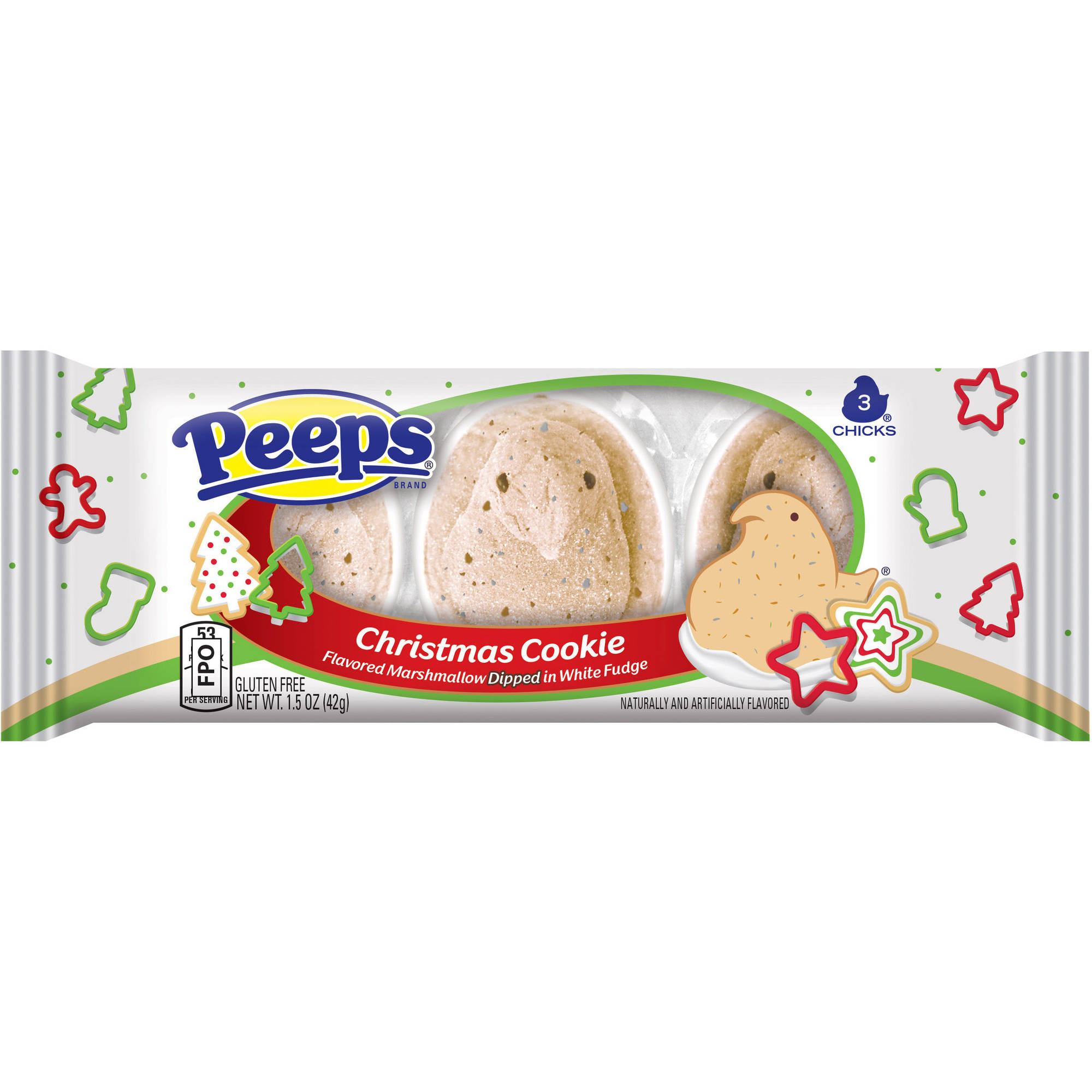 PEEPS Christmas Cookie Marshmallow Chicks, 3 count, 1.5 oz