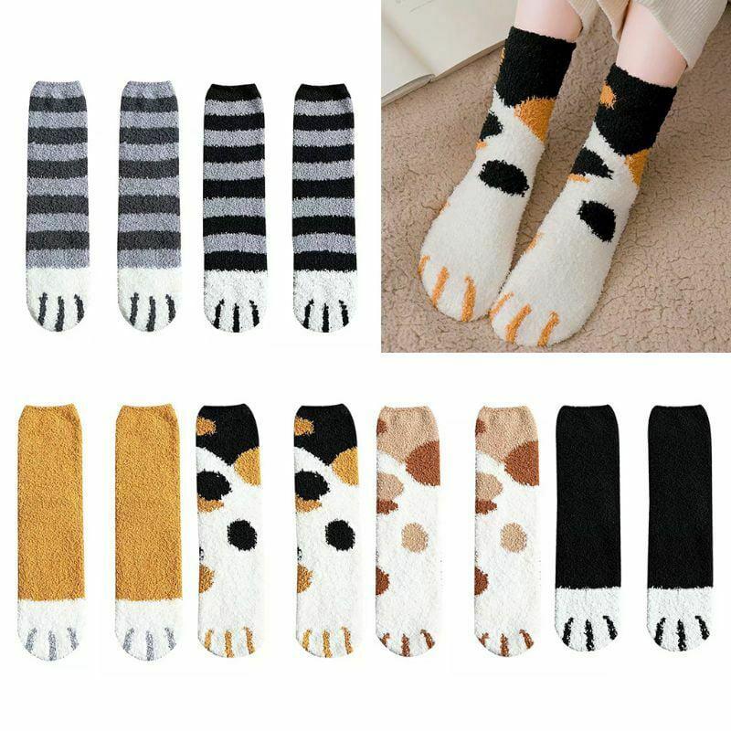 Fuzzy Sock for Women Cat Claw Plush Feet Cozy Sleeping Socks Cute Winter Home Slipper Socks 6 Pack