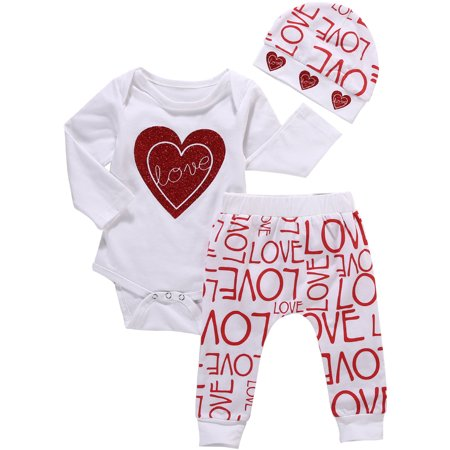 Kids Valentines Outfits (Babys Valentine's Day Outfits Long Sleeve Love Romper With Pant And Hat 12-18)