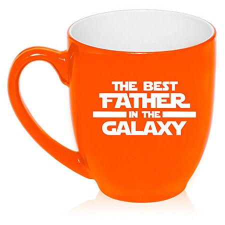 16 oz Large Bistro Mug Ceramic Coffee Tea Glass Cup Best Father In The Galaxy Dad