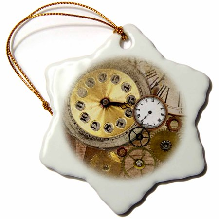 3dRose Timepiece collection on antique old look colored background - Snowflake Ornament, 3-inch (Timepiece Collection)