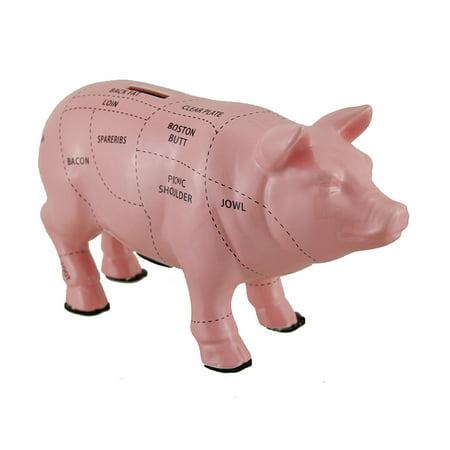 Pink Ceramic Pig Shaped Coin Bank Butcher Chart Piggy Bank (Pink Pig Piggy Bank)