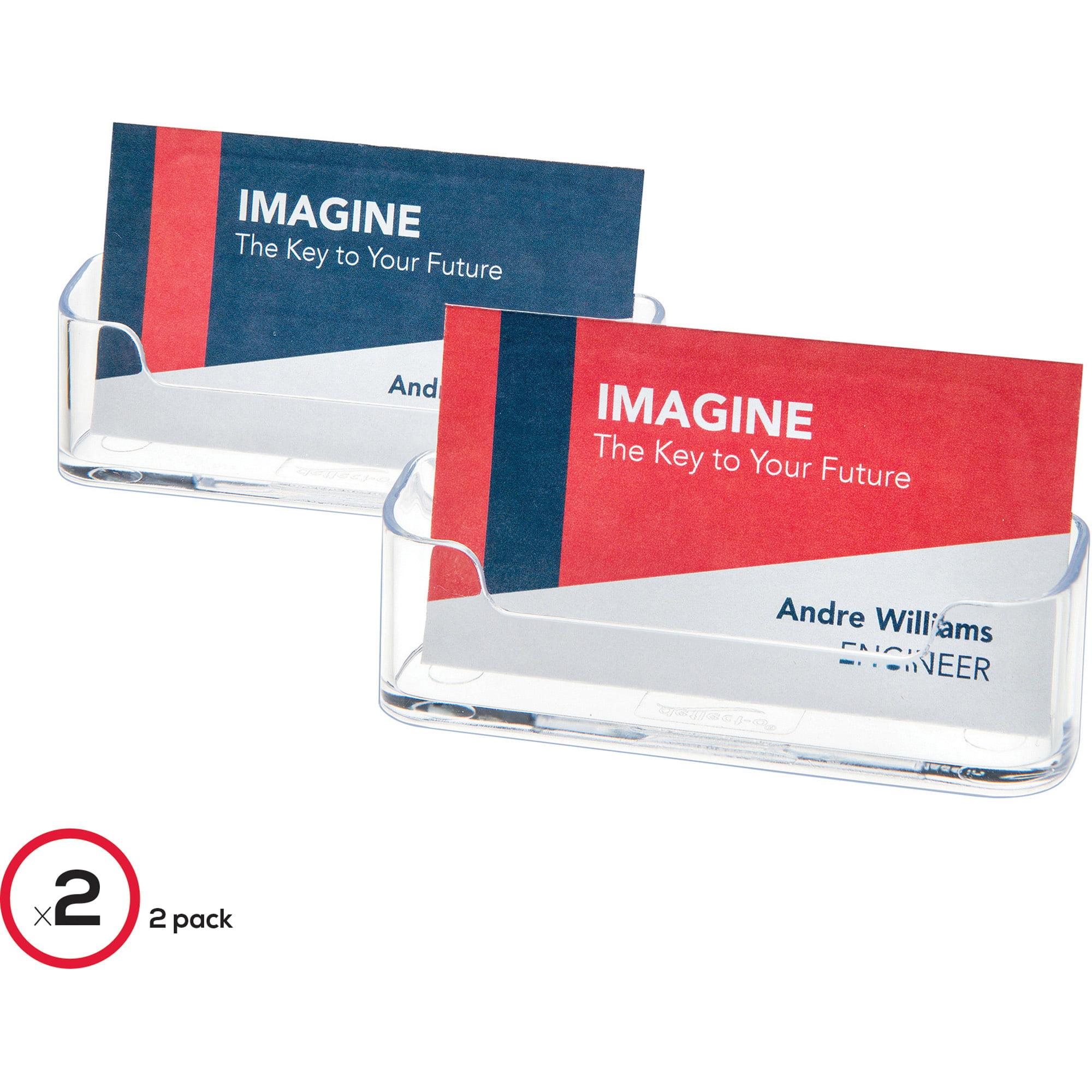 Deflect-o Desktop Business Card Holder - Plastic - 2 / Pack ...