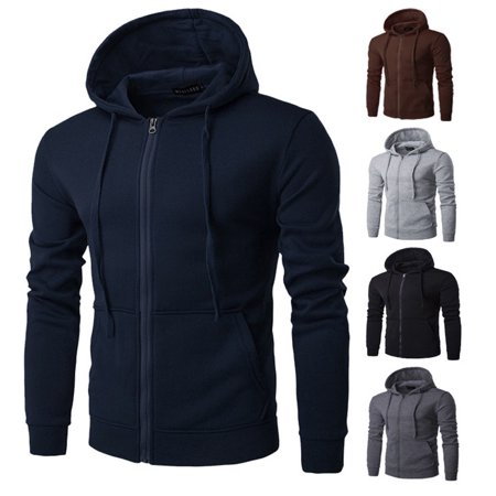 Mens Mens Fleece Hoodie With Thermal Lined Hood Jacket Sweatshirt Zip Outerwear Warm L-XXXL
