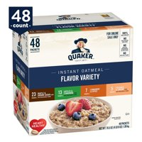 Quaker Instant Oatmeal 4 Flavor Variety Pack, 48 Packets