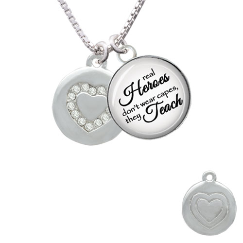 """Disc with Crystal Heart Real Heroes Teach Glass Dome Necklace, 18""""+2"""""""