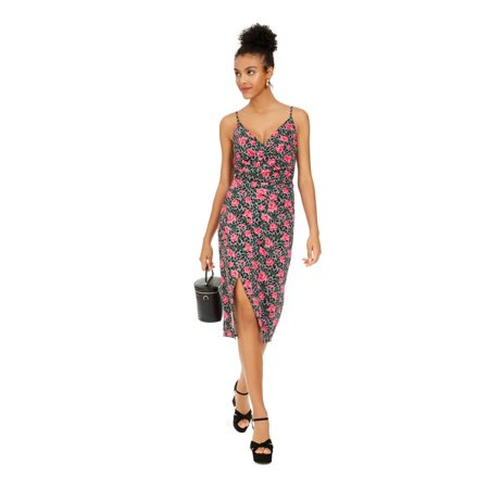 BETSEY JOHNSON Womens Pink Spaghetti Strap V Neck Below The Knee Body Con Evening Dress Juniors Size: 4