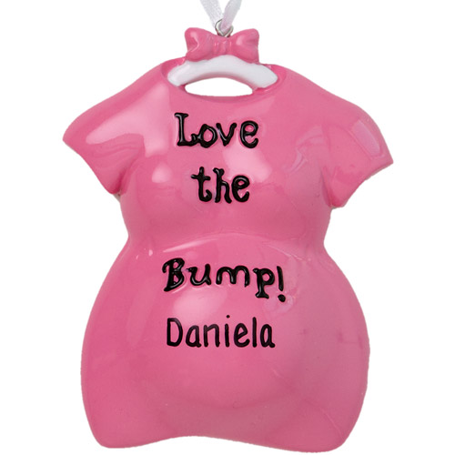 "Personalized ""Love the Bump!"" Christmas Ornament, Pink"