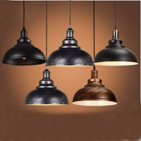 Diameter 12'' Home Metal Pendant Light Vintage Industrial Chandeliers Artistic Lighting Fixture E27 Hanging Ceiling Lamp For Kitchen Bar with 2 Screws