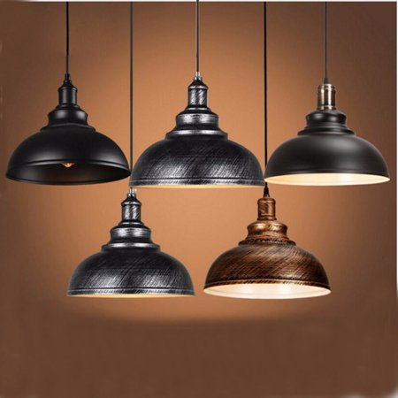 Kitchen Island Ceiling Lighting Fixture - Diameter 12'' Home Metal Pendant Light Vintage Industrial Chandeliers Artistic Lighting Fixture E27 Hanging Ceiling Lamp For Kitchen Bar with 2 Screws