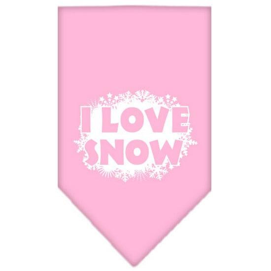 I Love Snow Screen Print Bandana Light Pink Large