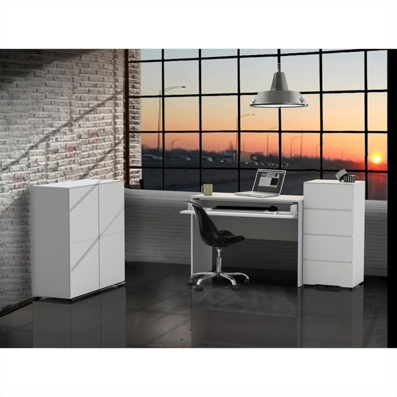 Nexera Blvd 4 Piece Office Set in White with 1 Door Storage Units