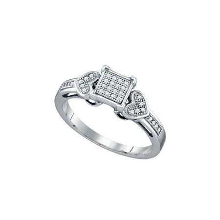 10K White Gold 0 10Ctw Shiny Micro Pave Diamond Center Square Heart Ring