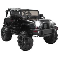 Ktaxon 12V Ride On Car Truck Electric Battry-Powered RC Car Toy w/ Remote Control, 3 Speeds, LED Lights, MP3 - Kids SUV (Black)