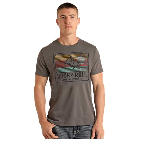 Rock & Roll Cowboy Short Sleeve Crew Neck T-Shirt, Charcoal (XX-Large) ()