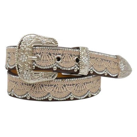 Clear Expressions Overlays - Angel Ranch DA3652-S 1.25 in. PU Leather Tan Lace & Bead Overlay Clear Crystals Girls Belt, Brown - Small