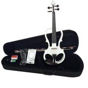 ADM EL16-WHITE Solid Wood Electric Silent Violin Outfit, White