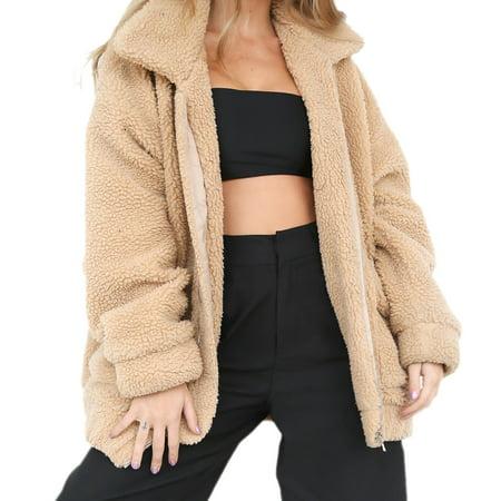 Women's Coat Casual Lapel Fleece Fuzzy Faux Shearling Zipper Warm Winter Oversized Outwear Jackets, (Khaki Cotton Jacket)