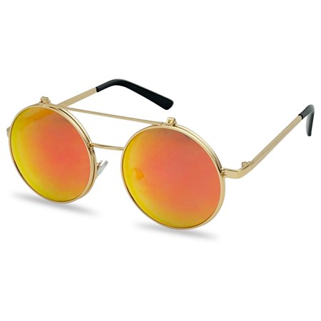 SunglassUP 50mm Round Steampunk Inspired Flip up Sunglasses Django Style with Mirror Colored (Flip Up Wayfarer Sunglasses)