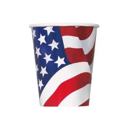 (3 pack) Patriotic USA Flag 9 oz. Paper Cups (8 Count)