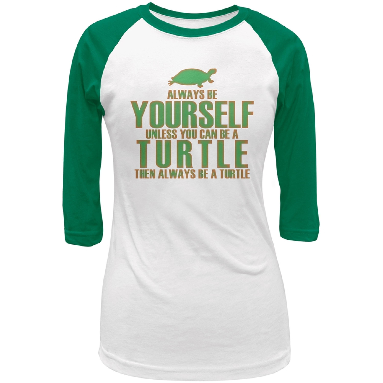 Always Be Yourself Turtle White-Kelly Green Juniors 3-4 Raglan T-Shirt