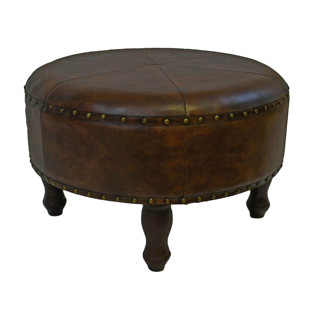 Istanbul Faux Leather Large Round Stool