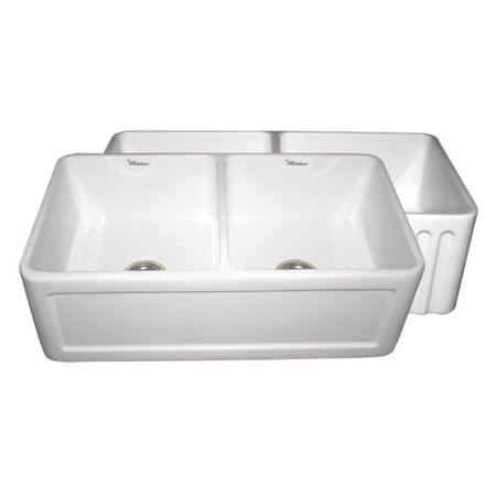 WhiteHaus Reversible Series WHFLCON3318 33 in. Double Basin Farmhouse (Blue Basin Sink)