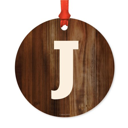 Metal Christmas Ornament, Monogram Letter J, Rustic Wood, Includes Ribbon and Gift Bag - Ribbon Letters