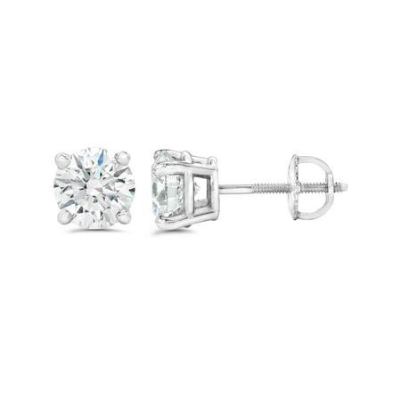 89160070a G SI 3ct Round Diamond Studs W/ Screw Back 14K White Gold - image 1 ...