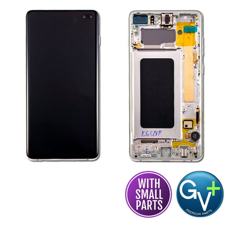 Touch Screen Digitizer and AMOLED Frame Assembly Display Assembly for Prism White Samsung Galaxy S10 Plus SM-G975, SM-G975U, SM-G975W, SM-G975F/DS (6.4