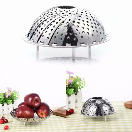 Stainless Steel Collapsible Steamer Basket for Steaming Vegetables, Retractable Foldable Food Steamer Fruit Dish Fruit Plate,14CM
