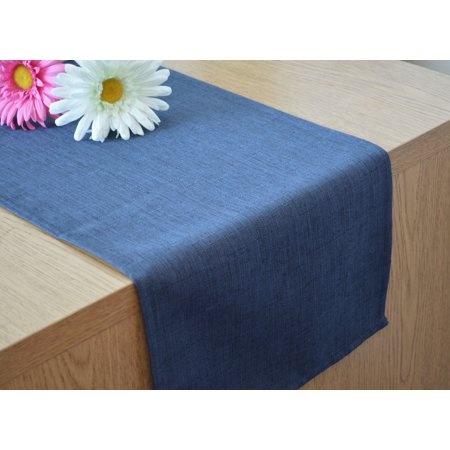 Aiking Home Solid 12 by 62 inches Slub Textured Table Runner (Navy) (Navy Table Runner)