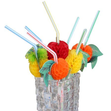 - 100PC Novelty Paper Fruit Drink Decoration Straws Crazy Cocktails Straw