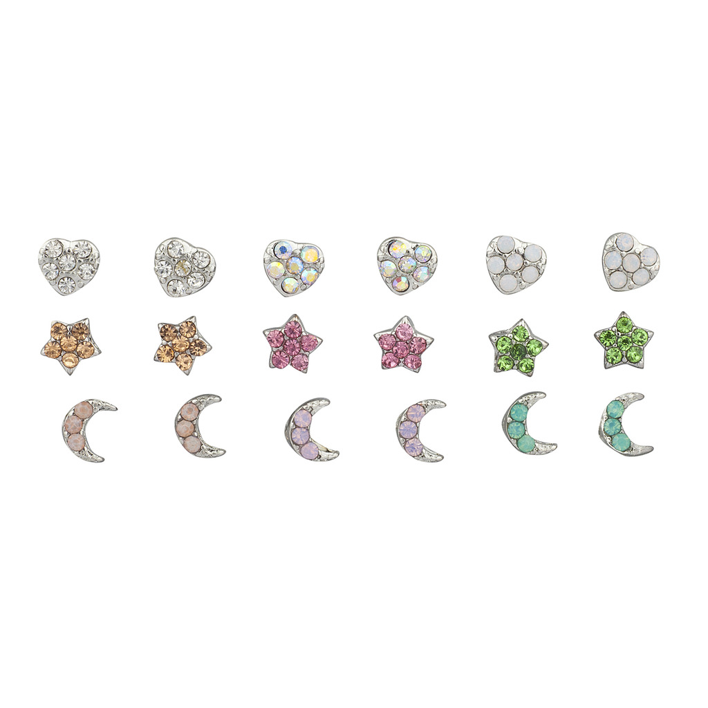 Lux Accessories Silver Tone Heart Moon Star Opal Rhinestone Earring Set by Lux Accessories