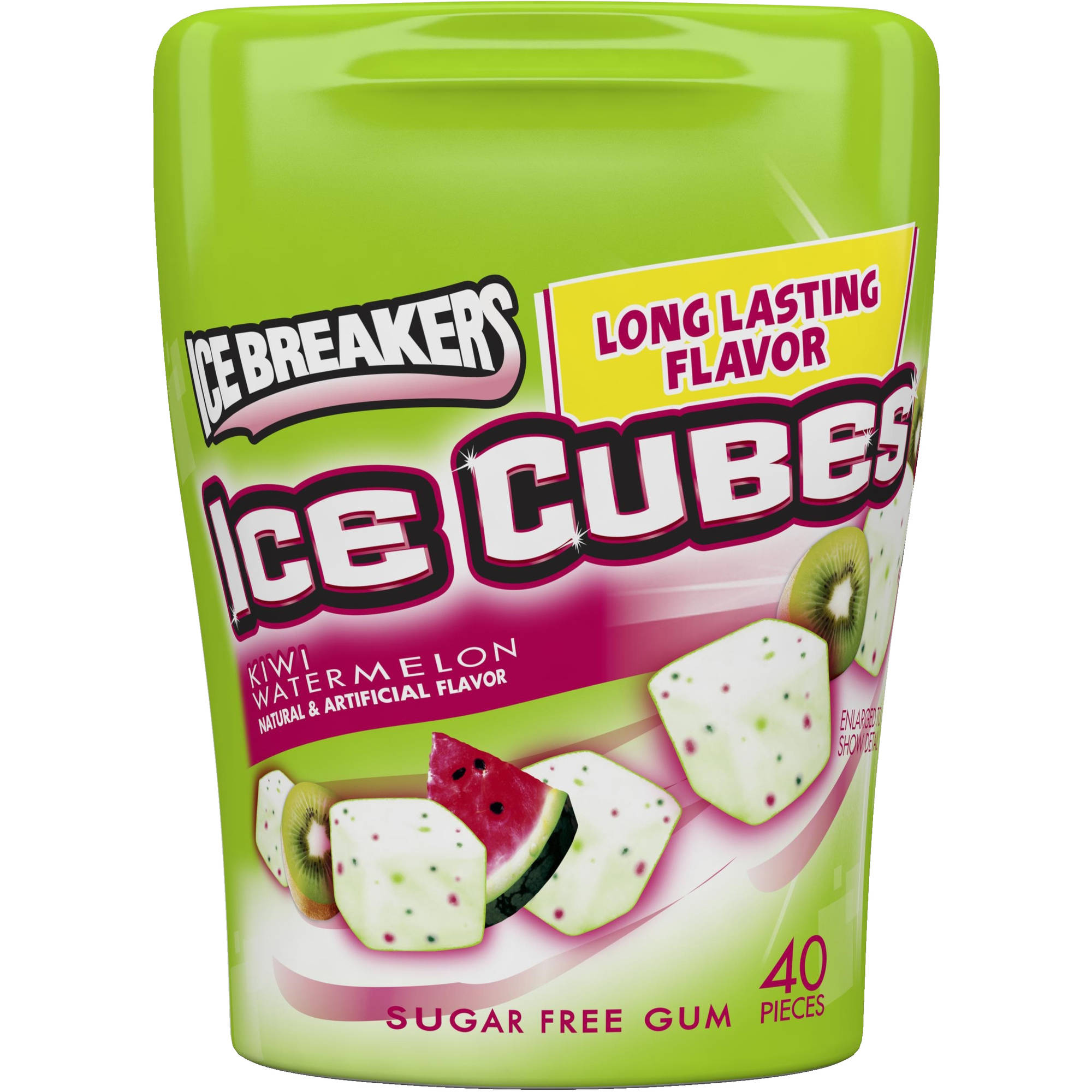 Ice Breakers Ice Cubes Sugar Free Kiwi Watermelon Gum, 40 count