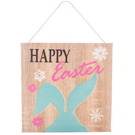 Easter Wall Decorations (Happy Easter Decor Glitter Rabbit Canvas Style Hanging 8