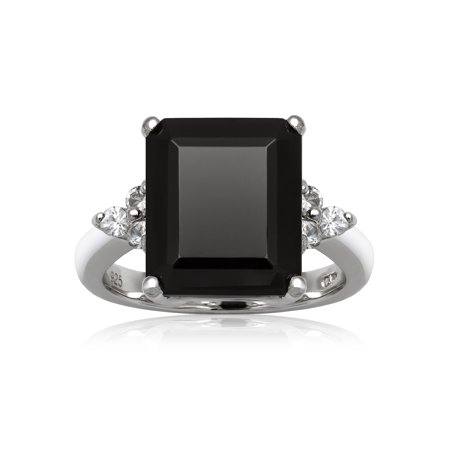 Faux Onyx Ring - Emerald-Cut Black Onyx and White Topaz Sterling Silver Ring