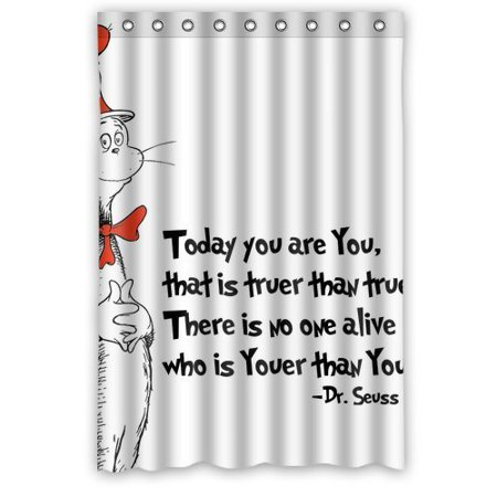 DEYOU Dr Seuss Cat In The Hat Shower Curtain Polyester Fabric Bathroom Size 48x72